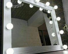 Vanity mirror with lights, Makeup mirror. - Vanity mirror with lights Makeup mirror Hollywood vanity Wood Bathroom, Bathroom Wall Decor, Bathroom Layout, Bathroom Colors, Bathroom Lighting, Light Bathroom, Hollywood Mirror, Natural Mirrors, Makeup Mirror With Lights