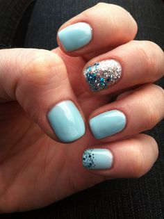 Powder Blue and glitter gels