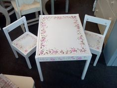 Vintage Childrens Table and Chair Set by HandpaintedbyCookie for tea parties!