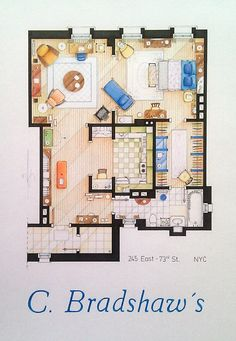 Carrie+Bradhsaw's+Apartment+Floorplan+Small+by+TVFLOORPLANSandMORE,+€40.00