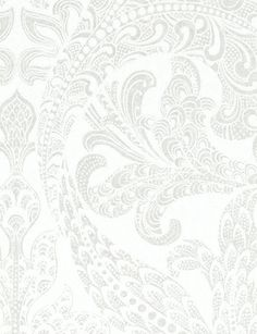 White wallpaper from ECO Wallpaper found on Tangletree Manufacturer: Eco Collection: Eco White Product: 1058 Repeat: Roll size: 1058 Features a large scale white damask on a pearlescent/metallic background. Guest Bathrooms, Small Bathroom, Silver Wallpaper, White Damask, Home Comforts, Designers Guild, White Bedding, Dream Bedroom, Designer Wallpaper