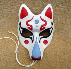Fancy Traditional White Kitsune Mask... Japanese Fox by Merimask