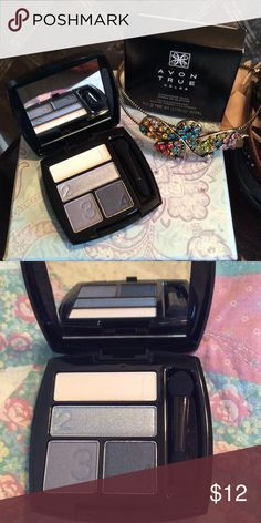 Eye Shadows - Steel Blues ($ Firm) Gold, Silver, Gray, Navy. Numbered to help with the order of application to get the best look.  A close up of colors is in the 2nd picture. Avon Makeup Eyeshadow