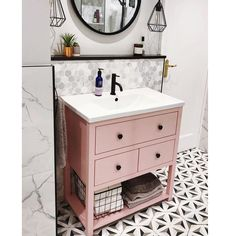 Pink vanity unit of dreams 💕 (thank you, Mr G, for being ok about it 🥰) Master Bathroom Vanity, Bathroom Vanity Units, Best Bathroom Vanities, Bathroom Tiling, Bathroom Closet, Bathroom Towels, Bathroom Furniture, Bathroom Accessories Luxury, Bathroom Design Luxury