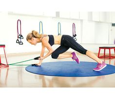 Plank Pull:Anchor center of band at floor level; grip end in each hand, then start in plank with band taut. Pull left elbow to right knee (as shown). Return to plank for 1 rep. Switch sides; repeat. Do 12 reps. Repeat 3 times