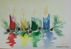 Done several times. One of which was a Christmas Gift. Done several times. One of which was a Christmas Gift. Painted Christmas Cards, Watercolor Christmas Cards, Christmas Candles, Watercolor Cards, Christmas Decorations, Christmas Drawing, Christmas Paintings, Christmas Art, Handmade Christmas