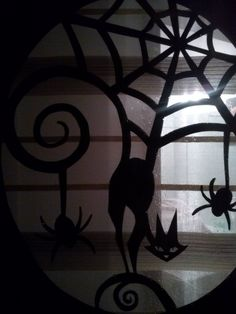 Cat and spiders, Halloween silhouettes, 2013.