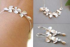 Pearl Jewelry Set, Silver Flower Jewelry Set Bracelet Earrings Necklace, Elegant Modern Flower Jewelry, Sterling Silver Set, Gifts For Her