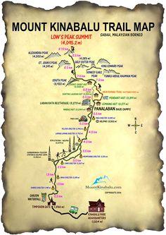 Mount Kinabalu Low's Peak Circuit Trail Map | Printable Version