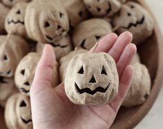Paper Mache Halloween Pumpkins - 3 Rustic Jack-O-Lanterns