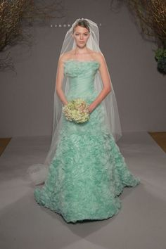 oh, Tiffany blue wedding gowns. I wish I could dye my dress Tiffany blue Non White Wedding Dresses, Blue Wedding Gowns, Colored Wedding Dress, Unique Wedding Gowns, Wedding Colors, Wedding Styles, Bridal Gowns, Wedding Ideas, Gown Wedding