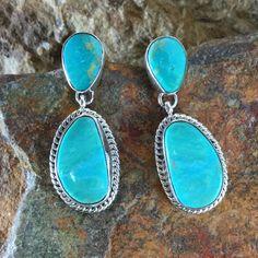 Kingman Turquoise Sterling Silver Earrings