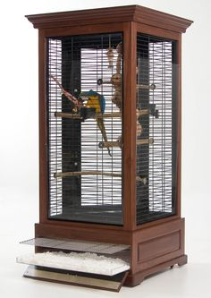 My kinda bird cage for parrots that is anyways. More like a furniture style then just a metal wire cage. Bird Cage Design, Diy Bird Cage, Parrot Pet, Parrot Toys, Parrot Cages, Bird Cages For Sale, Bird Aviary, Wood Bird, Kit Homes