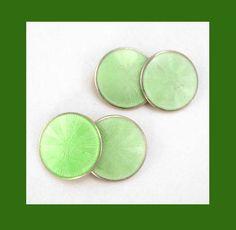 Green enamel / guilloche sunburst sterling cufflinks