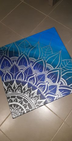 Blue and silver mandala canvas - Mandalas Mandala Art Lesson, Mandala Artwork, Mandala Canvas, Mandala Drawing, Mandala Painting, Cute Canvas Paintings, Easy Canvas Painting, Dot Art Painting, Canvas Art