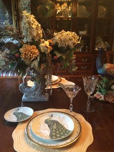 New today from TJ Maxx and Marshall's, 222 Fifth, Serene Peacock salad and dessert plates to go with my ivory with black and gold Lenox China.  I put dinner plates in my china cupboard.