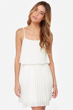 all white pleated dress