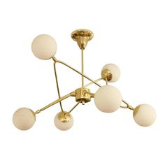 Six Globe Adjustable Chandelier, Italy, 1960s