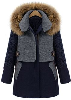Blue Contrast Grey Panel Detachable Fur Hood Wool Blend Coat