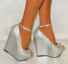 WOMENS SILVER PLATFORM GLITTER SHIMMER SPARKLY HIGH WEDGES SHOES SIZES HEELS 3-8 | eBay