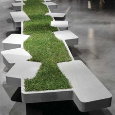 Grass bench - blending seating with nature