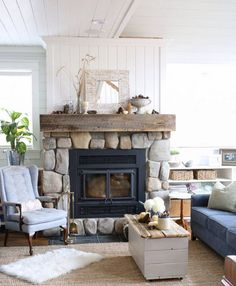 Ashleakoo on Instagram | Living Room | Stone Fireplace Perfect combo of traditional and rustic. Colors are perfection too. Love this room.