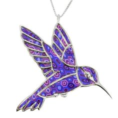 """925 Sterling Silver Hummingbird Necklace Pendant Handmade Purple Polymer Clay Bird Jewelry, 16.5"""". Hummingbird necklace pendant beautifully handmade from purple polymer clay, set into 925 sterling silver. Hummingbird pendant measures 1.4x1.9 inches, 3.6x4.8cm and arrives on a 925 sterling silver, high quality Italian made chain measuring 16.5"""", 42cm (Please note: chain type may vary then that pictured). A wonderful gift idea for that special woman in your life, whether it be a Christmas…"""