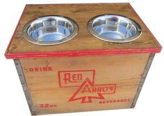 Elevated Dog Feeder out of Red Arrow Vintage Crate