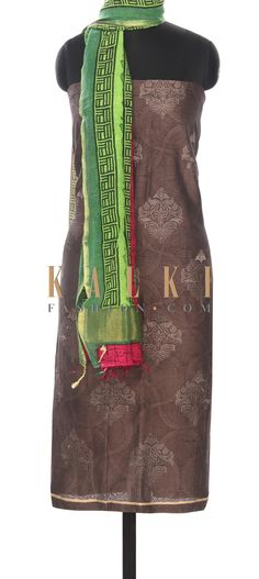 BUy this Brown unstitched suit adorn in print and resham embroidery only on Kalki