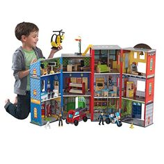 """Amazon has the KidKraft Everyday Heroes Wooden Playset, 3-Story with 35-Piece Accessories, Foldable for Storage, Gift for Ages 3+ marked down from $134.99 to $87.49. That is 35% off retail price! TO GET THIS DEAL: GO HERE to go to the product page and click on """"Add to Cart"""" Final price = $87.49 Shipping is… Wooden Playset, Multiplication For Kids, Dollhouse Toys, Toys Online, Creative Play, Room Themes, Baby Shop, Fire Trucks, Toddler Girls"""