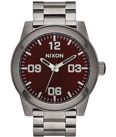 Superior style and rugged functionality are fused in the Corporal SS gunmetal and deep burgundy watch from Nixon. This analog watch is crafted with a high-caliber stainless steel construction in a gunmetal colorway that features a deep burgundy face finis