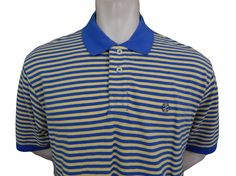 IZOD Polo Shirt Mens Size L Large Blue & Yellow Striped #IZOD #PoloRugby