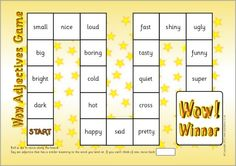 Wow adjectives board game (SB7201) - SparkleBox