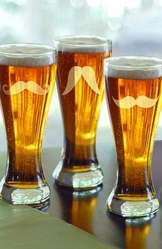Mustache Pilsner Glasses. Great guy gift!