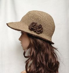 Crocheted hat no. H406 rayon raffia hat straw hat by auntieshirley, $36.00