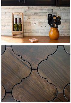 Wood Tile wood lookalike tile as back splash (top) Wood Tile Kitchen, Dark Wood Kitchens, Wood Backsplash, Wood Tile Floors, Wood Look Tile, Ceramic Flooring, Kitchen Cabinets, Porcelain Wood Tile, Living Room Wood Floor