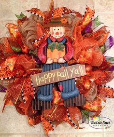 Fall Autumn Scarecrow Deco Mesh Wreath by TootsieSuesWreaths