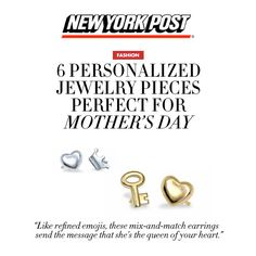 Thanks #NYPost for featuring our Mix and Match Mini Addition Stud Earrings! Personalize a unique pair to match her beautiful heart! #mothersday #alexwoo #putaminionit #newyorkpost