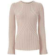 Autumn Cashmere Women's Bell Sleeve Cable Knit (775 BRL) ❤ liked on Polyvore featuring tops, sweaters, long sleeve cable knit sweater, pink long sleeve top, cashmere blend sweater, long sleeve tops and flare top