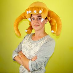 """Our new work is exclusive hat-toy """"HeadCrab"""" - one of the most popular gaming characters ! Handmade Design, Handmade Toys, Bunny And Bear, New Work, Restoration, Gaming, Plush, Characters, Hat"""