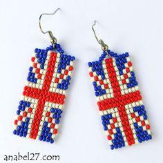 Серьги из бисера в виде британского флага - годятся как идея, могут быть брелоками, магнитами, сувенирами