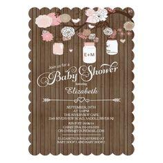 Rustic Country Mason Jar Girls Baby Shower 5x7 Paper Invitation Card