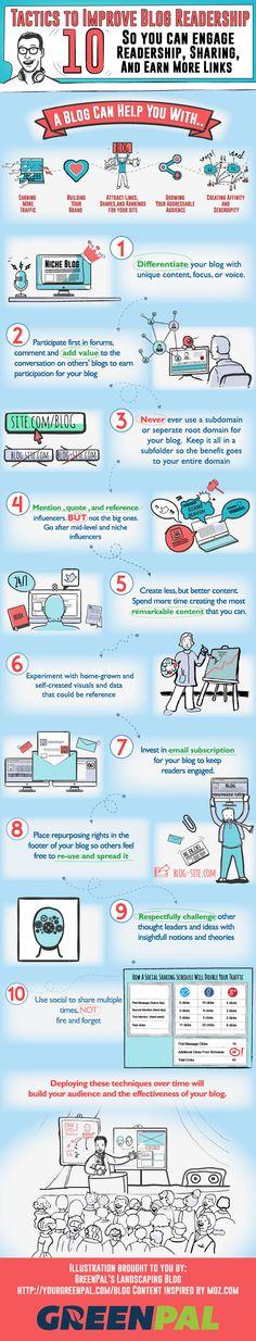 10 tácticas para construir una audiencia para tu blog agradable y constante. #infografia #infographic