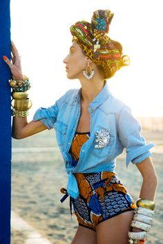 Stella Jean beachwear, beach turban look