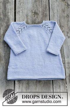 Gratis strikkeopskrift Baby Knitting Patterns, Baby Sweater Knitting Pattern, Knitting For Kids, Easy Knitting, Baby Patterns, Drops Design, Baby Sweaters, Crochet Baby, Drops Karisma