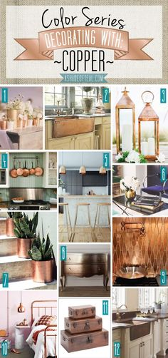 Color Series; Decorating with Copper. Copper, brass, metal home decor.   A Shade Of Teal