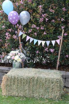 2014 Halloween banner balloon and hay bales yard decoration - flower #2014 #Halloween