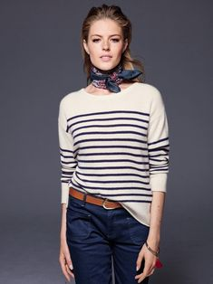 Adrette Outfits, Preppy Outfits, Simple Outfits, Breton Stripes Outfit, French Girl Style, My Style, Casual Chic, Estilo Navy, Pullover Mode