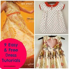 9 of the cutest FREE dress patterns/tutorials. Ideas for this years Easter dres? Sewing Patterns For Kids, Sewing For Kids, Clothing Patterns, Dress Patterns, Little Girl Dresses, Girls Dresses, Sewing Baby Clothes, Dress Sewing, Dress Tutorials
