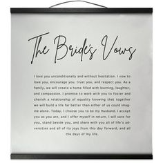 The Brides Vows Wedding Vows Magnetic Frame Wall Hanging Decor, Wedding Gift Vow Examples, Wedding Vows Examples, Best Wedding Vows, Wedding Vows To Husband, Great Wedding Gifts, Wedding Goals, Wedding Tips, Our Wedding, Dream Wedding